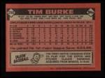 1986 Topps #258  Tim Burke  Back Thumbnail