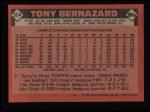 1986 Topps #354  Tony Bernazard  Back Thumbnail