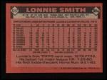1986 Topps #617  Lonnie Smith  Back Thumbnail