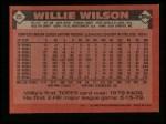 1986 Topps #25  Willie Wilson  Back Thumbnail