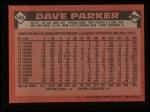 1986 Topps #595  Dave Parker  Back Thumbnail