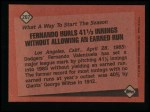1986 Topps #207   -  Fernando Valenzuela Record Breaker Back Thumbnail