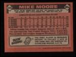 1986 Topps #646  Mike Moore  Back Thumbnail