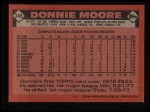 1986 Topps #345  Donnie Moore  Back Thumbnail