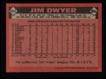 1986 Topps #653  Jim Dwyer  Back Thumbnail