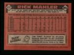 1986 Topps #437  Rick Mahler  Back Thumbnail
