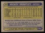 1987 Topps #347  Mickey Brantley  Back Thumbnail