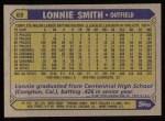 1987 Topps #69  Lonnie Smith  Back Thumbnail