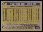1987 Topps #251  Rob Wilfong  Back Thumbnail
