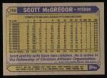 1987 Topps #708  Scott McGregor  Back Thumbnail