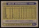 1987 Topps #515  Willie Hernandez  Back Thumbnail