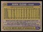 1987 Topps #640  Mark Clear  Back Thumbnail