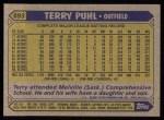 1987 Topps #693  Terry Puhl  Back Thumbnail