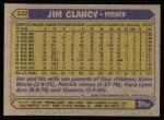 1987 Topps #122  Jim Clancy  Back Thumbnail