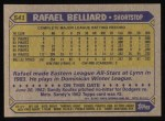 1987 Topps #541  Rafael Belliard  Back Thumbnail