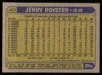 1987 Topps #403  Jerry Royster  Back Thumbnail