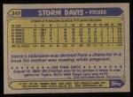 1987 Topps #349  Storm Davis  Back Thumbnail
