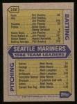 1987 Topps #156   Mariners Team Back Thumbnail