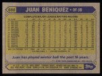 1987 Topps #688  Juan Beniquez  Back Thumbnail