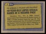 1987 Topps #4   -  Davey Lopes Record Breaker Back Thumbnail
