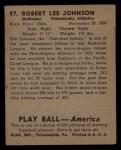 1939 Play Ball #97  Bob Johnson  Back Thumbnail