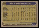 1987 Topps #463  Tom Candiotti  Back Thumbnail