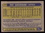 1987 Topps #234  Pat Sheridan  Back Thumbnail