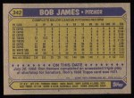 1987 Topps #342  Bob James  Back Thumbnail