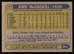 1987 Topps #194  Kirk McCaskill  Back Thumbnail