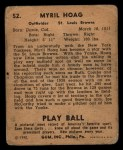 1940 Play Ball #52  Myril Hoag  Back Thumbnail