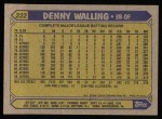 1987 Topps #222  Denny Walling  Back Thumbnail