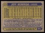 1987 Topps #274  Jeff Hearron  Back Thumbnail