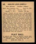 1940 Play Ball #68  Dolph Camilli  Back Thumbnail