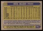 1987 Topps #113  Neil Allen  Back Thumbnail