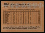 1988 Topps #511  Joel Davis  Back Thumbnail