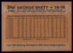 1988 Topps #700  George Brett  Back Thumbnail