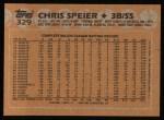 1988 Topps #329  Chris Speier  Back Thumbnail