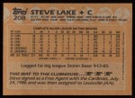 1988 Topps #208  Steve Lake  Back Thumbnail