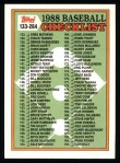 1988 Topps #253   Checklist 133 - 264 Front Thumbnail