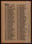 1988 Topps #253   Checklist 133 - 264 Back Thumbnail