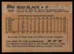 1988 Topps #301  Bud Black  Back Thumbnail