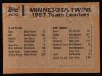 1988 Topps #609  Gary Gaetti  Back Thumbnail