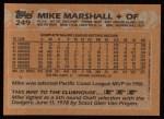 1988 Topps #249  Mike Marshall  Back Thumbnail