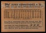 1988 Topps #290  Tony Fernandez  Back Thumbnail