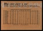 1988 Topps #598  Lee Lacy  Back Thumbnail