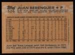 1988 Topps #526  Juan Berenguer  Back Thumbnail