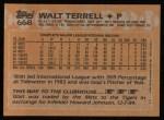 1988 Topps #668  Walt Terrell  Back Thumbnail