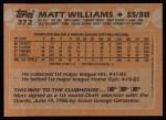 1988 Topps #372  Matt Williams  Back Thumbnail