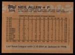 1988 Topps #384  Neil Allen  Back Thumbnail