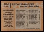 1988 Topps #594  Bobby Valentine  Back Thumbnail